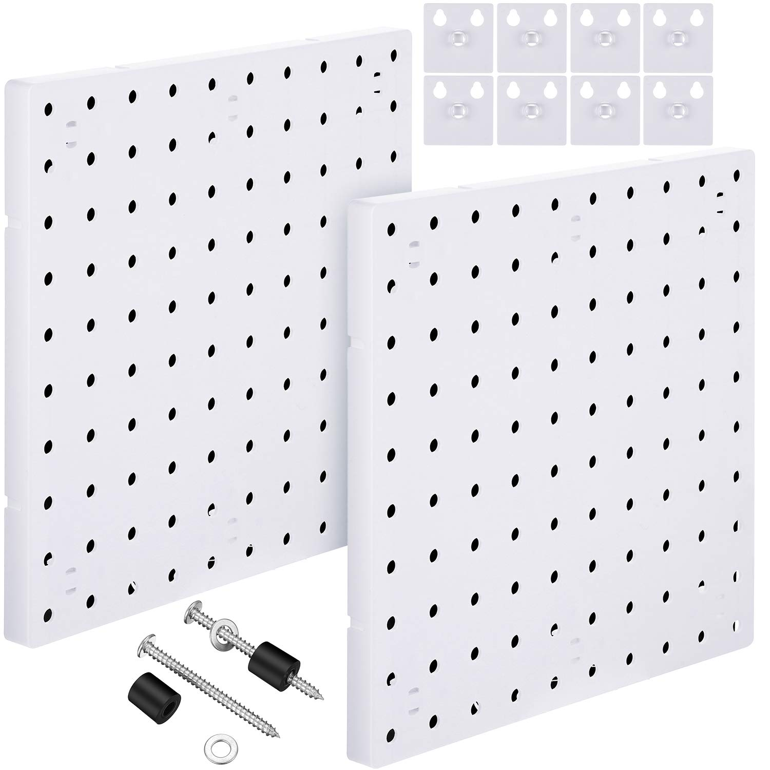 2 Pieces White Pegboard Wall Mount Display Metal Pegboard Wall Panel Kits Peg Board Organizer Accessories, 2 Installation Methods, No Damage to The Wall for Garage Kitchen Bathroom Office
