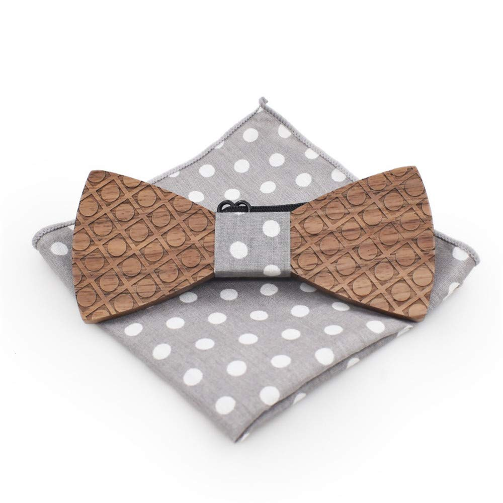 Techecho Adjustable Wedding Bow Tie Surface Wave Point of Carve Patterns Or Designs On Woodwork Brooch Square Wooden Leisure Shirt Tie Bow Tie Wedding Cufflinks Suits Mens Classic Party