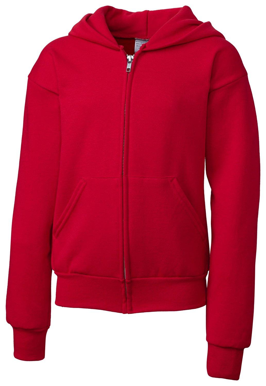 Clique Big Girls Full Zip Comfortable Fleece Warm Hoodie, Deep Red, X-Small