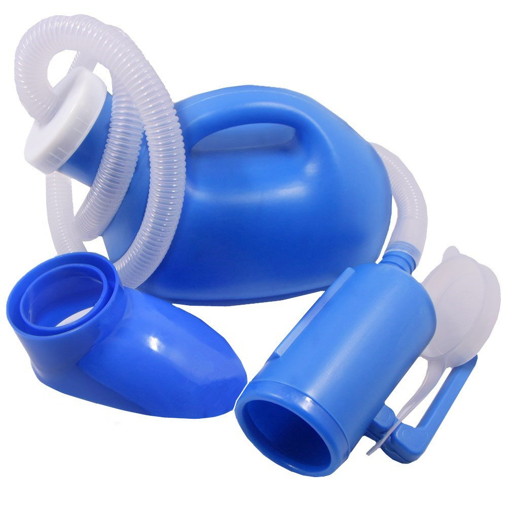 YUMSUM Unisex Female or Male Bed Urinal Universal Potty Pee Bottle Collector Travel Toilet 1000ML with Lid and Drain Hose(S Female Blue) by YUMSUM