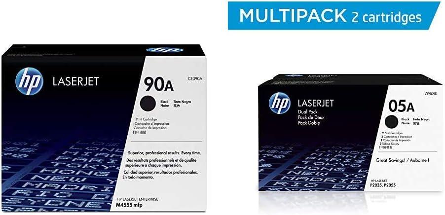 HP 90A | CE390A | Toner Cartridge | Black & 05A | CE505D | 2 Toner Cartridges | Black