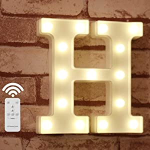 Pooqla Light Up Letters with Remote LED Marquee Letter Lights Alphabet Signs Timer Dimmable for Wall Table Wedding Home Party Bar Christmas Decoration, Letter H