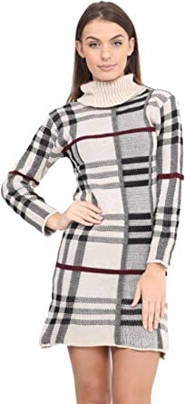 New Women Ladies Polo Neck Tartan Knitted Midi Long Sleeve Bodycon Jumper Dress