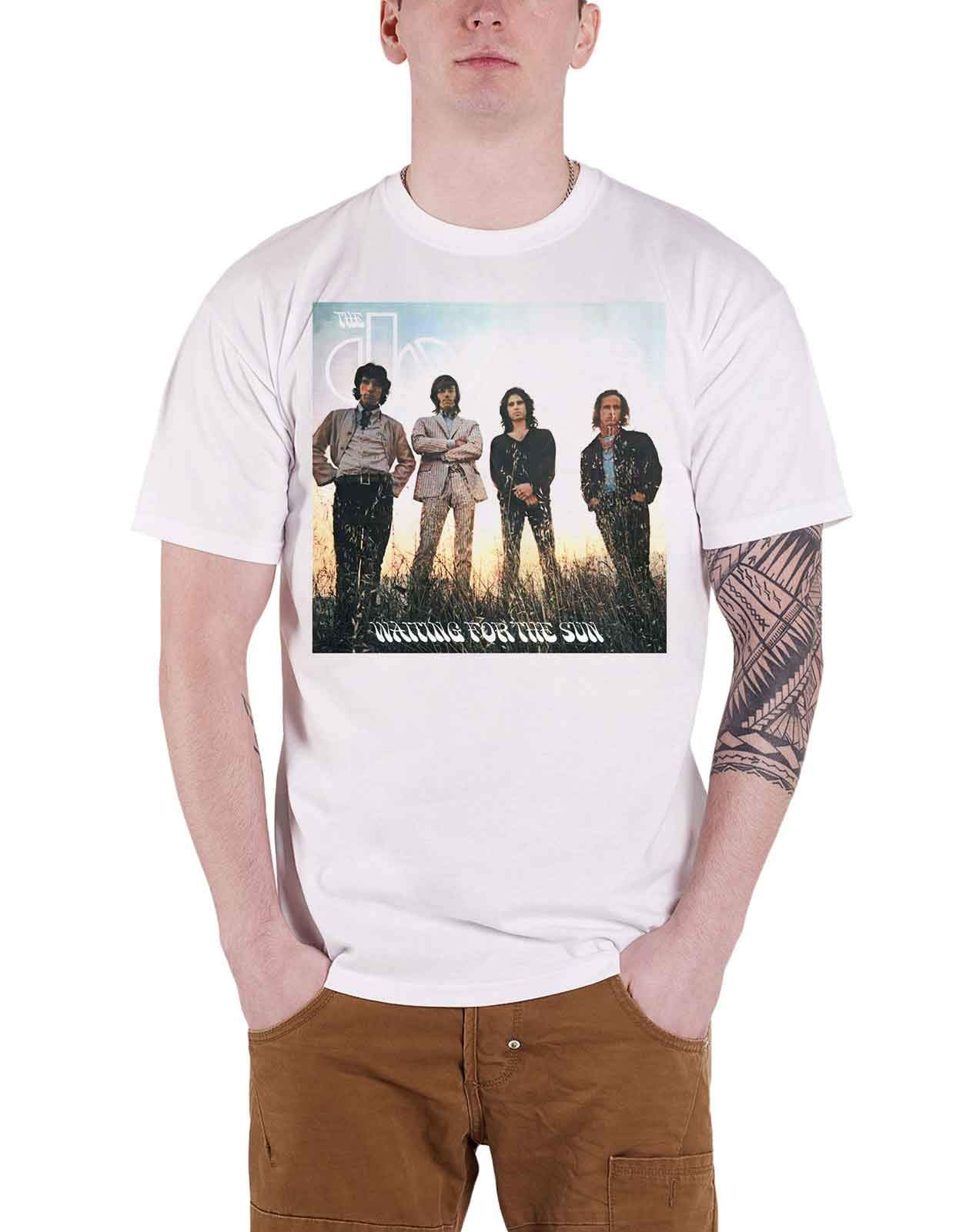 The Doors T Shirt Waiting For The Sun Cover Band Logo Official Mens White