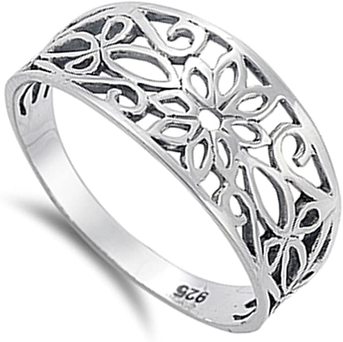 Filigree Oxidized Hawaiian Plumeria Flower Ring Sterling Silver Band Sizes 4-11