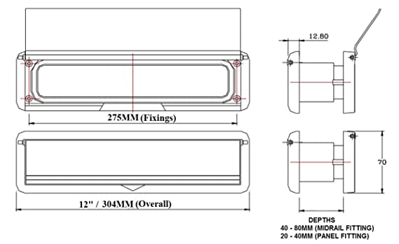 Buz/ón de UPVC para puerta 30,4/cm cromo HomesSecure HS2802