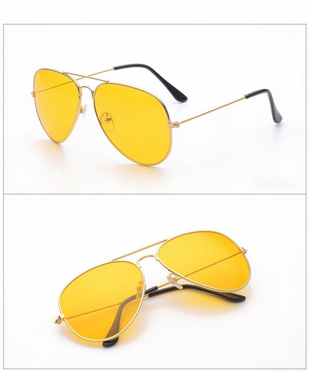 Klassische Sonnenbrille Retro Metallrahmen Sonnenbrille Sonnenbrille Gelb Film Nachtsichtbrille , Goldrahmen