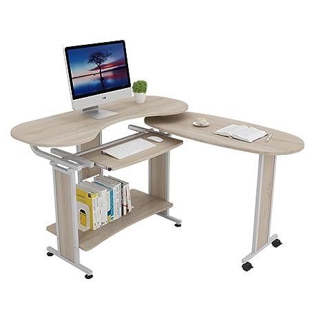 FEI Escritorio plegable para computadora de 2 piezas con estantes para libros, Escritorio para computadora