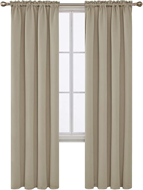 Deconovo Beige Blackout Curtains Rod Pocket Curtain Panels Room Darkening Curtains For Living Room 52 W X 84 L Inch 2 Panels Home Kitchen