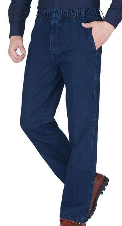 BYWX Men Relaxed Straight Leg Denim Side Pocket Elastic Waist Jean