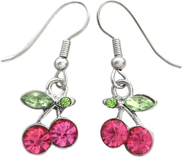 sparkly earrings orange red jewelry small flower earrings 925 silver dangle drop earrings little princess Belle costume jewelry gift for her