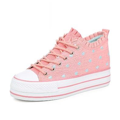 L'augmentation de la version coréenne de canvas shoes/lace,sponge cake/thick-soled,chaussures femmes polyvalent-B Longueur du pied=23.3CM(9.2Inch)