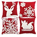 HOSL 4-Pack PSD34 Embroidery Embroidered Merry Christmas Snow Square Decorative Throw Pillow Case Sofa Car Cushion Cover 18x18-inch (Set of 4)