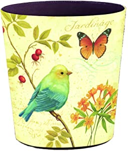 Lingxuinfo Retro Style Small Trash Can Wastebasket, Decorative Trash Can Waste Paper Basket Waste Container Bin for Bathroom, Bedroom, Office and More, 10L Capacity (Sparrow Butterfly)