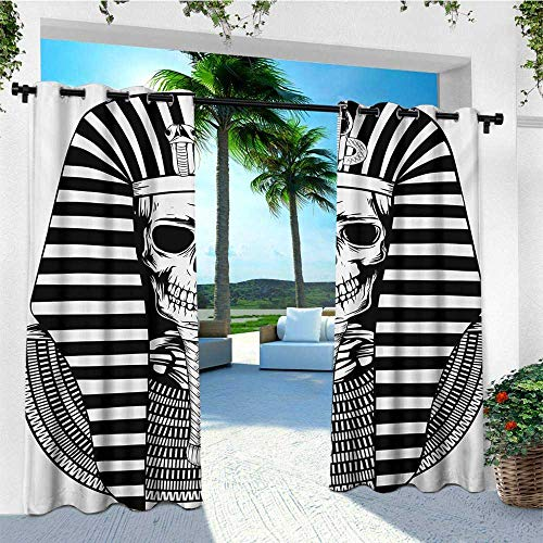 (King, Outdoor Curtain Pair, Egyptian Pharaoh Ruler Mummy Skull Skeleton Statue for Ancient Egypt Lovers Print, for Patio Waterproof W84 x L108 Inch Black and White)