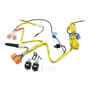 x autohaux 1 set dc 12v h4 xenon halogen headlight fog light lamp bulbs  harness for toyota, high & low wiring kits - amazon canada