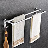 ZfgG Space Aluminum Towel Rack Double Rod,Towel Bar Bathroom,Towel Rack Bathroom,Accessories Shelf,Storage shelf