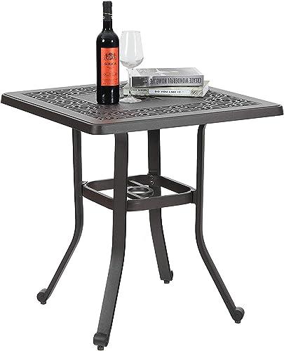 MFSTUDIO Outdoor Balcony Garden Furniture Patio Bistro Coffee Table 27.5″ Square Cast Aluminum