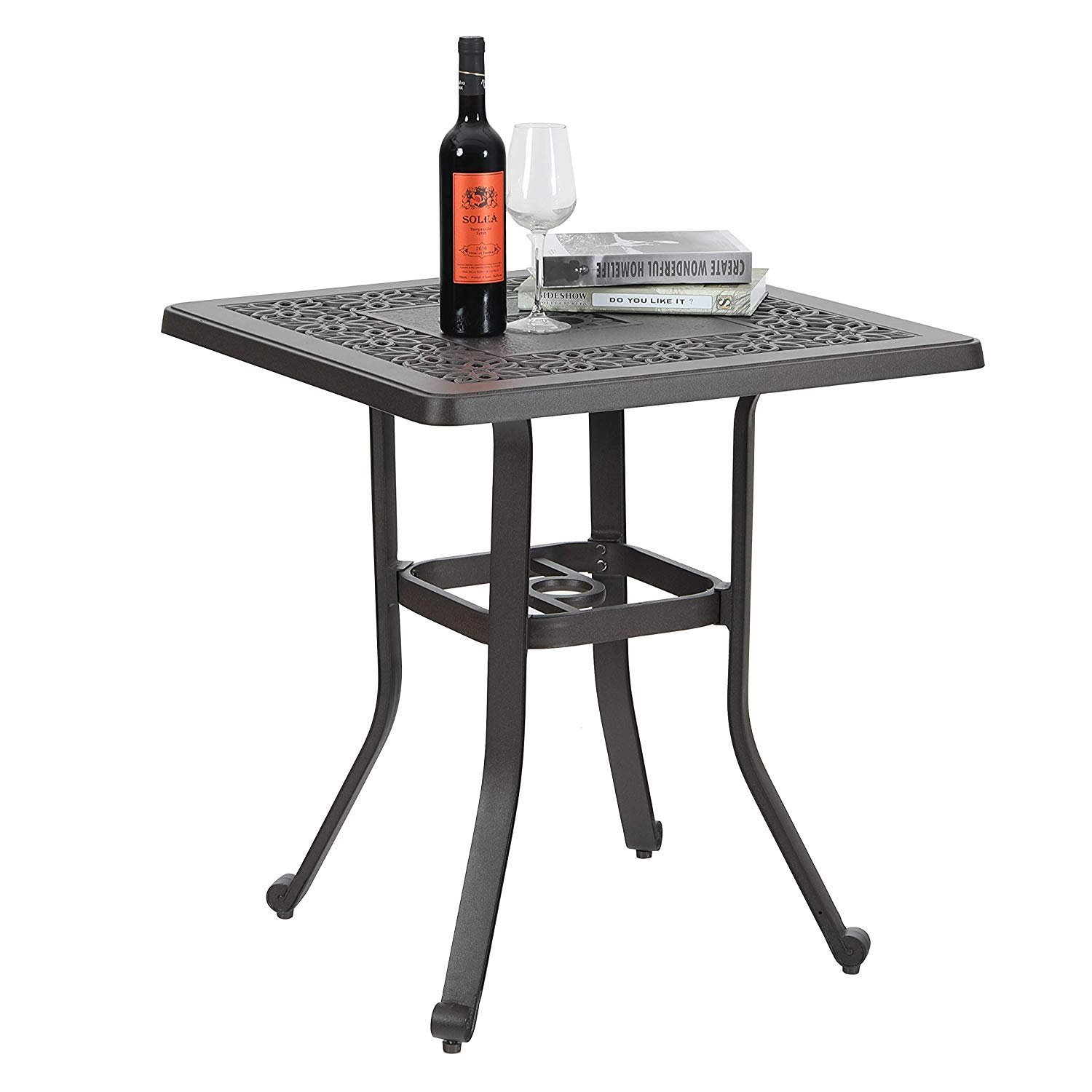 Patio Cast Aluminum 27.5 Bistro Square Dining Table with Umbrella Hole and Frosted Surface