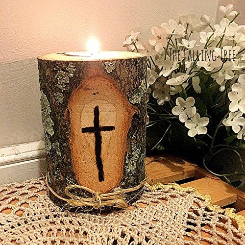 (Burned Cross Wooden Log Tea Light Candle Holder)