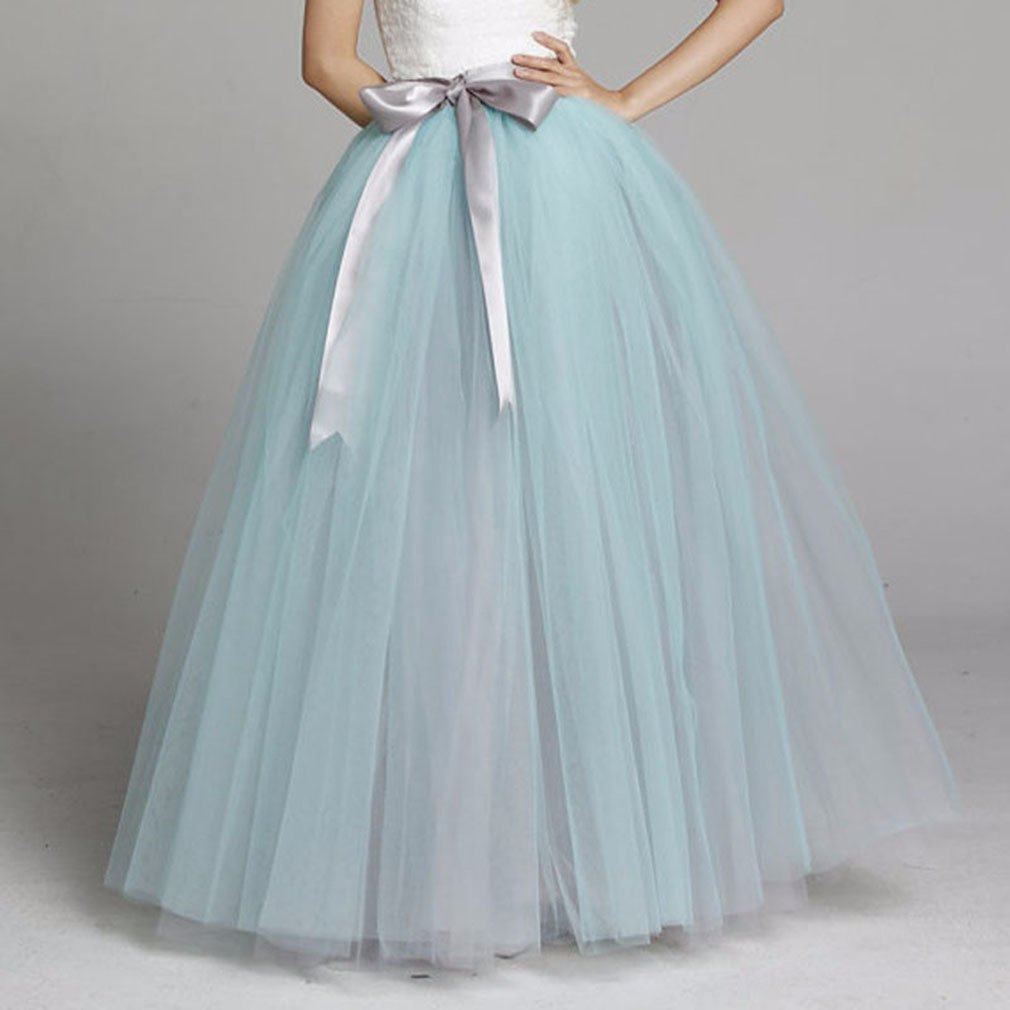 Lisong Women Floor Length Bowknot Tulle Party Evening Skirt