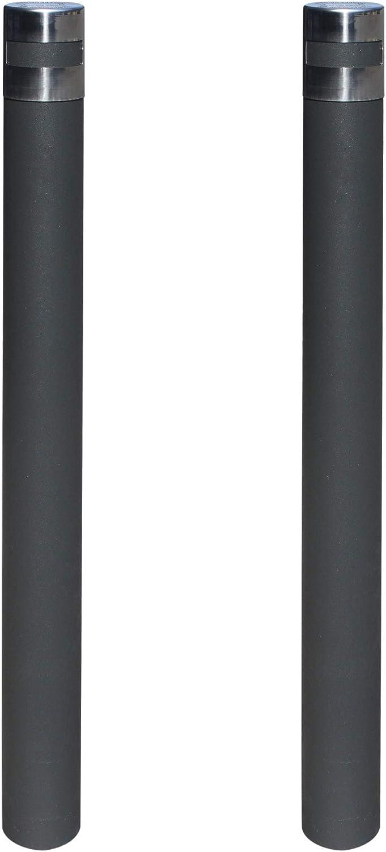 kit 2 Pilonas fijas modelo Urban. Bolardo de hierro con parte superior en acero inoxidable de 95x1000 mm