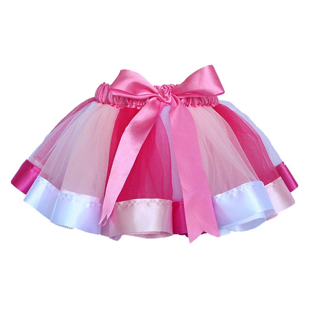 Baby Little Girls Rainbow Color Princess Dance Tutu Gauze Dress Skirts (M(2-4Y), 3)
