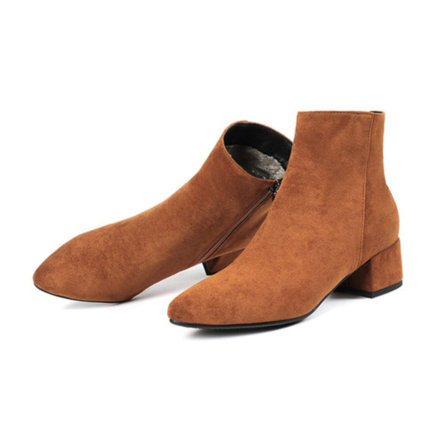 3 brown Women's Boots Pointed Toe Yarn Elastic Ankle Boots Thick Heel High Heels shoes