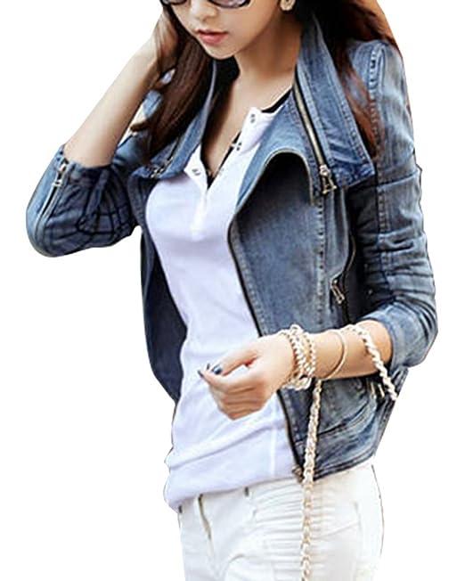 En Jacket Up Vintage Jean Zipper Femme Veste Longues Denim Manches qHf7Z