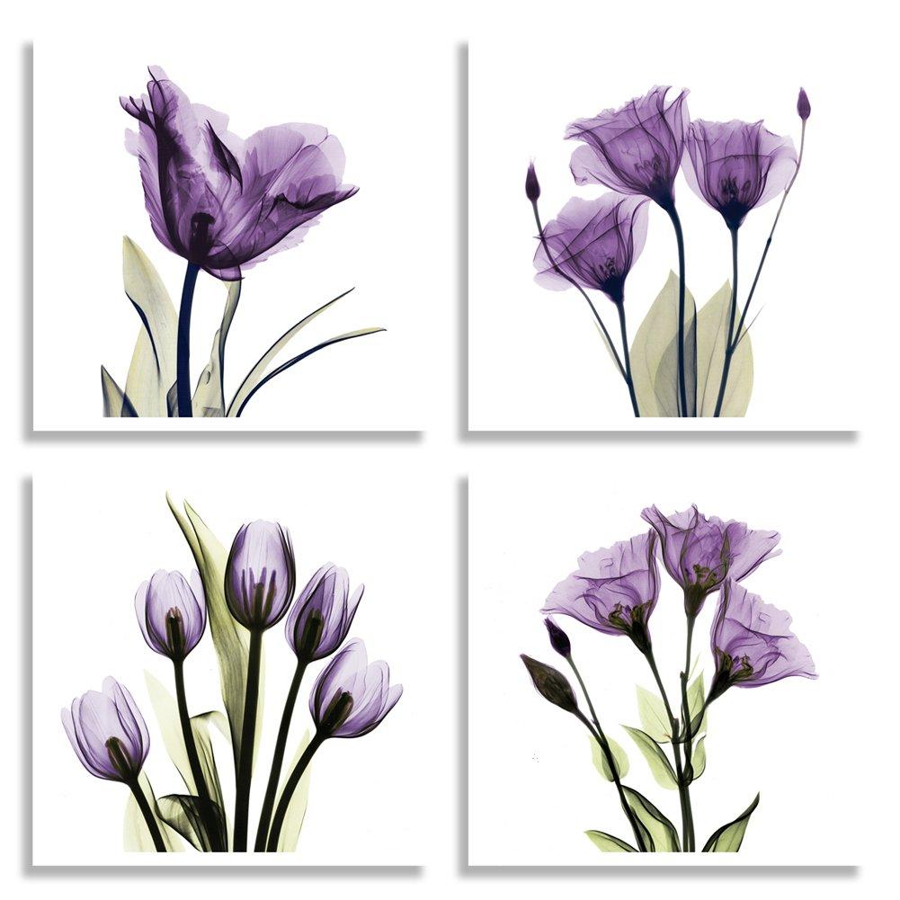 Amazon hlj art 4 panel elegant tulip purple flower canvas amazon hlj art 4 panel elegant tulip purple flower canvas print wall art painting for living room decor and modern home decorations photo prints amipublicfo Image collections