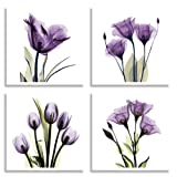 Amazon Price History for:HLJ ART 4 Panel Elegant Tulip Purple Flower Canvas Print Wall Art Painting For Living Room Decor And Modern Home Decorations Photo Prints 12x12inch(Wood Framed)