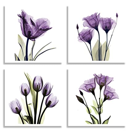 Amazon.com: HLJ ART 4 Panel Elegant Tulip Purple Flower Canvas Print ...