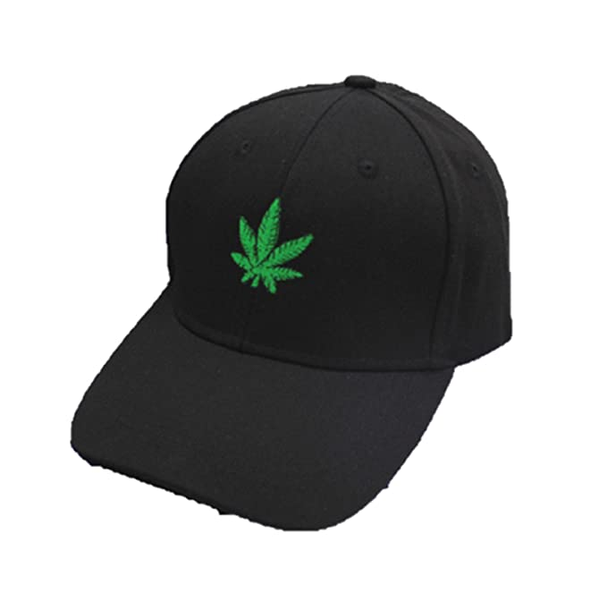 Fashion Embroidery Maple Leaf Black Cap Weed Snapback Hat For Men Women  Cotton SWAG 9bbf2355eda8