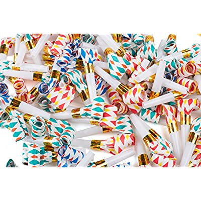 Bulk Toys Party Pack of 36 Musical Blow Outs, Birthday Party Favors, New Years Party Noisemakers 36 Party Blowouts Whistles, Party Blowouts, Fun Party Favors, Goody Bag Stuffers, Assorted Colors: Toys & Games