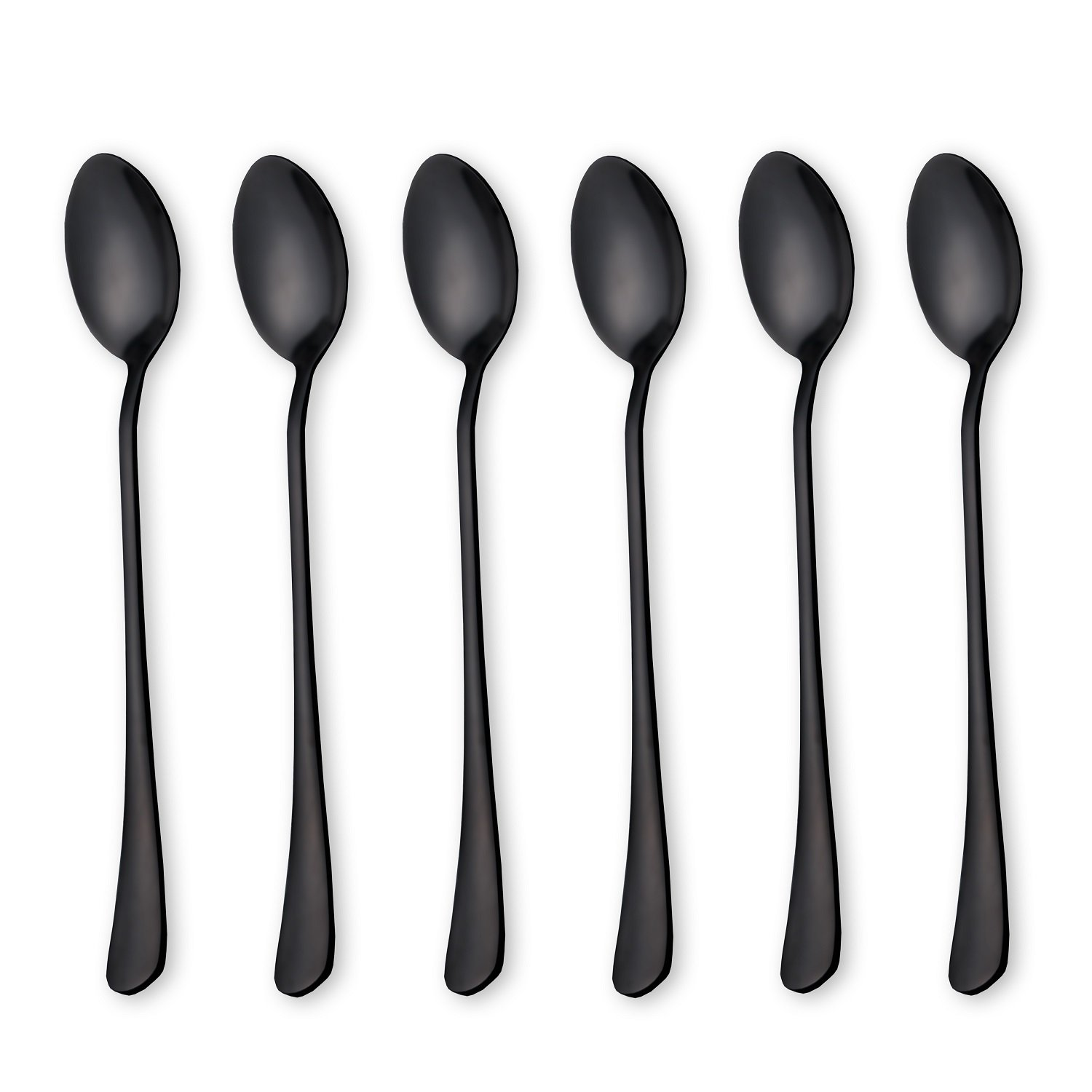 6-Pieces Stainless Steel Long Handle Ice Tea Coffee Mixing Spoons, Icecream Spoon, Espresso Deluxe Spoon, Bar spoon, 7.62-inch(Black)