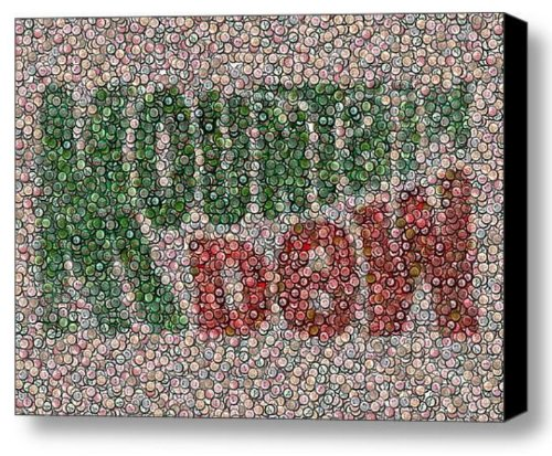 Amazing Framed Mountain Mt. Dew Bottle Cap Mosaic 9x11 Inch Limited Edition W/coa