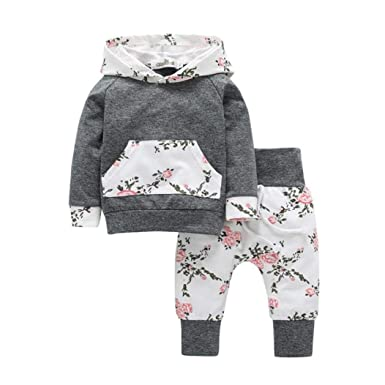 499629781 Iuhan 2pcs Toddler Infant Baby Boy Girl Clothes Set Floral Hoodie ...