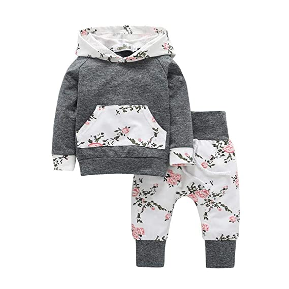 Infant Girls Boys Hoodie Hooded Floral Tops Pants Outfits Set