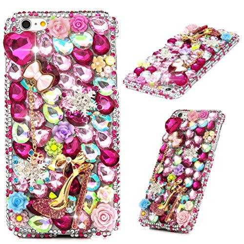 iPhone 6 Plus Case, iPhone 6S Plus Case, Maviss Diary 3D Luxury Handmade PC Plastic Shiny Bling Full Colorful Diamonds Floral Gems High-Heeled Rhinestone Crystal Clear Full Edge Protective Cover