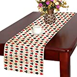 InterestPrint Poker Suits Polyester Table Runner Placemat 14 x 72 inch, Vintage Black and Red Tablecloth for Office Kitchen Dining Wedding Party Home Decor