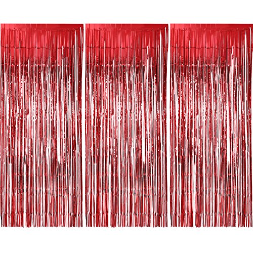 Sumind 3 Pack Metallic Tinsel Curtains, Foil Fringe Shimmer Curtain Door Window Decoration for Birthday Wedding Party (Red)