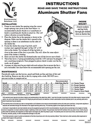 VES 12'' Exhaust Shutter Fan, Wall Mount, 1/10 Hp, W/9' Cord