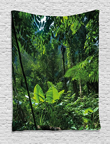 Ambesonne Plant Tapestry, Green Jungle Untouched Nature Environmental Concerns Flora Fauna Jungle Rainforest, Wall Hanging for Bedroom Living Room Dorm, 60