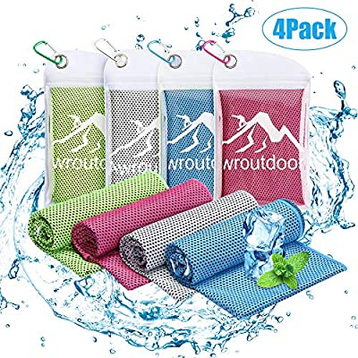 Awroutdoor 4 Pack Toalla de Enfriamiento - 100 x 30 cm Toalla de Hielo Fría Instantánea, Suave de Secado Rápido Toalla Deportiva de Secado Adecuado para Gimnasio Golf Escalada Running Yoga: Amazon.es: