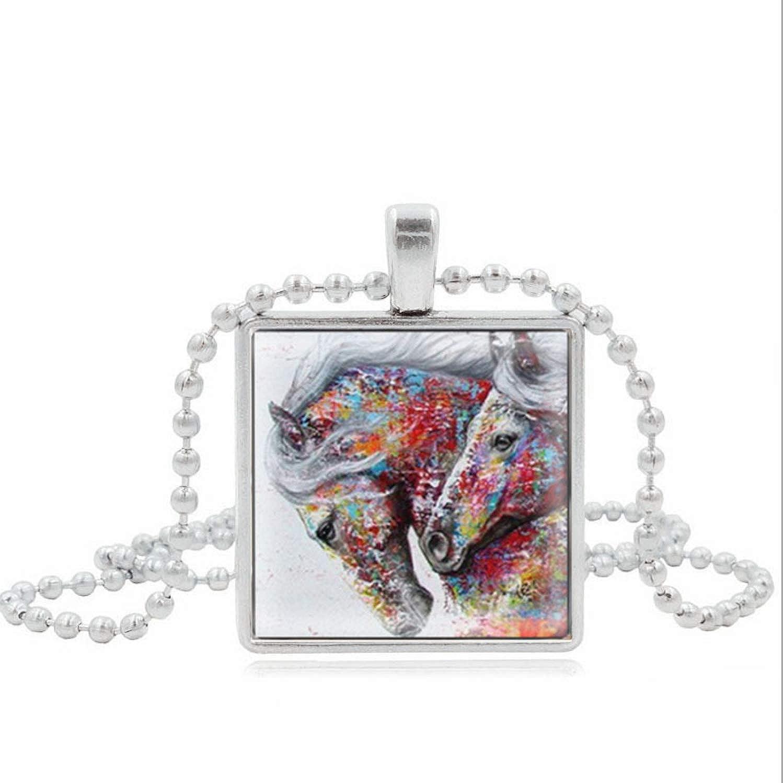 GUXUE Hermoso Collar de Piedras Preciosas de Caballo con Colgante Cuadrado de Vidrio