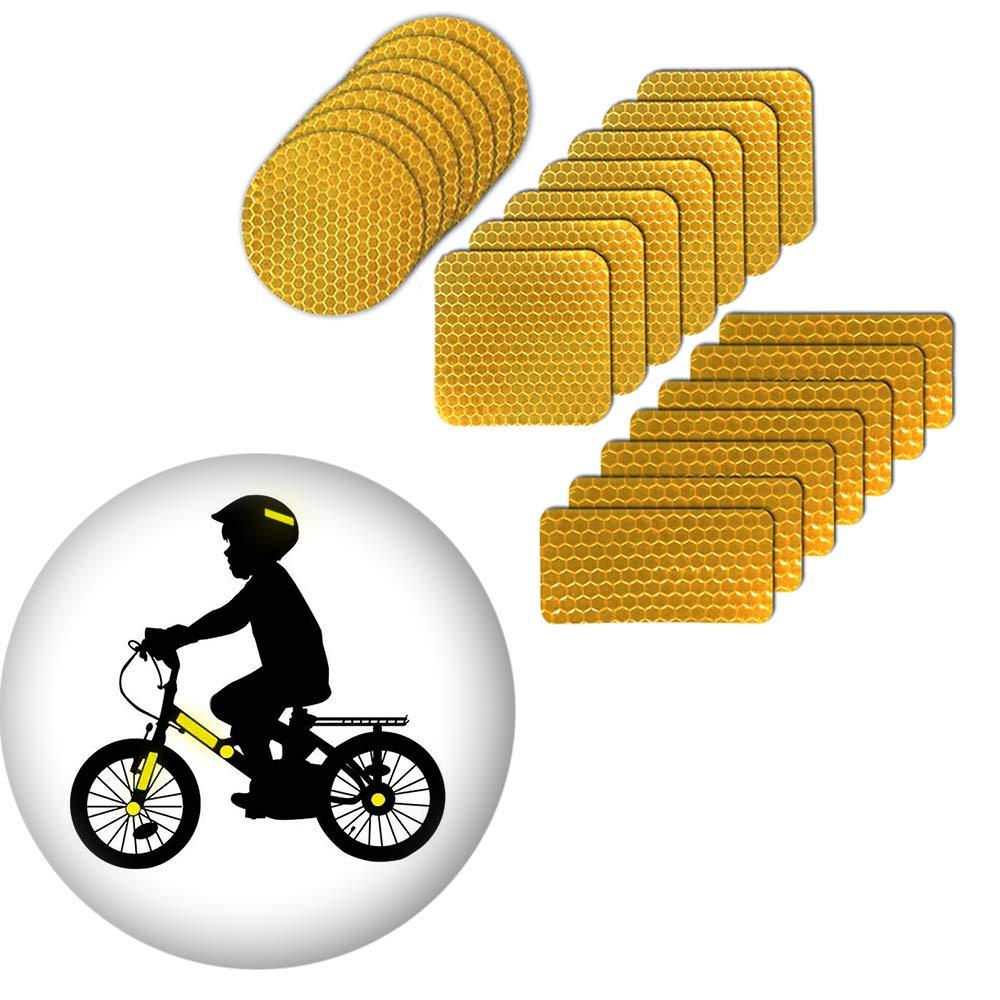 muchkeky反射ステッカーHelmets反射のバイクのステッカーforキッズ防水高可視性安全警告テープステッカー自己粘着21点 6cmX6cm,6cmX6cm,3cmX6cm イエロー MK-66457 B07FKK5PLY イエロー