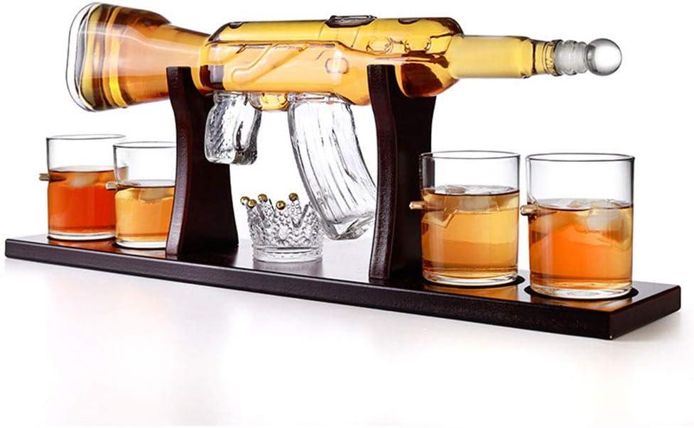 Juego De Botellas De Vidrio De Whisky De Metralleta, con 4 Vasos De Bala, Tartar De Hielo Y Tazón De Piedra De Hielo De Corona, Niños, Navidad, Acción De Gracias