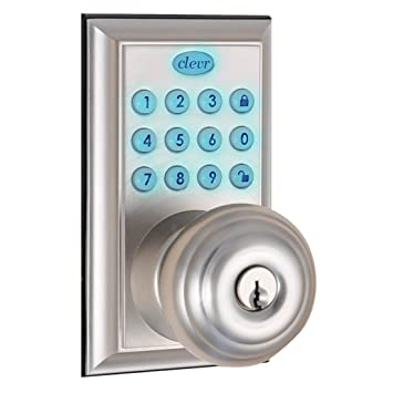 clevr indoor outdoor electronic keypad keyless entry door lock satin nickel