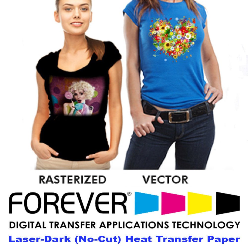 Forever Laser Dark No-Cut A+B Paper 8.5'' X 11''- 100 Sheets Heat Transfer Paper by Forever