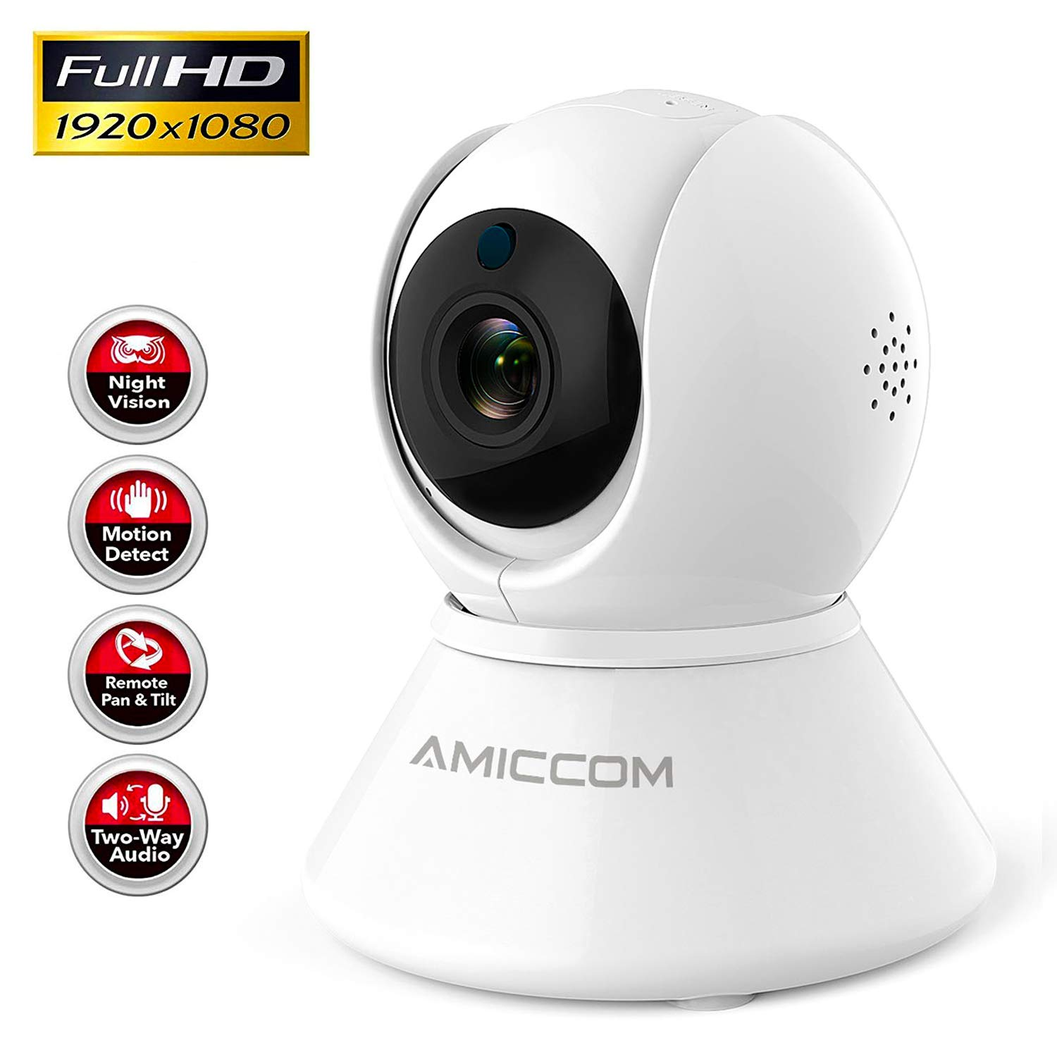 WiFi Camera-1080P Security Camera System Wireless Camera Indoor 2.4Ghz Home Camera with 2 Way Audio Night Vision, Auto-Cruise, Motion Tracker, Activity Alert,Support iOS/Android/Windows by BOOCOSA-US